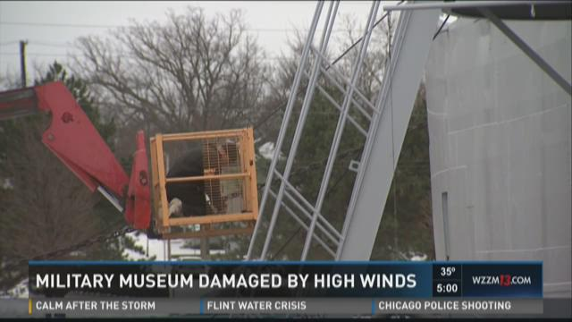 Military museum damaged by high winds