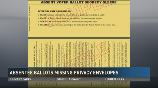 Absentee ballots missing privacy envelopes