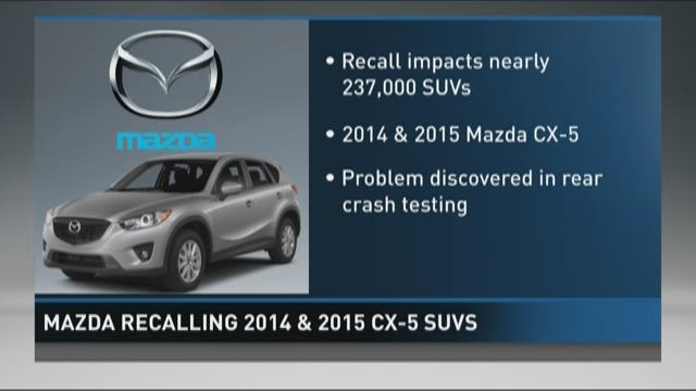 Mazda recalling 2014, 15 CX-5 SUVs