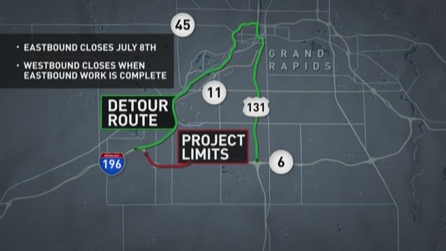 M-6 will close between I-196 and Wilson on July 8