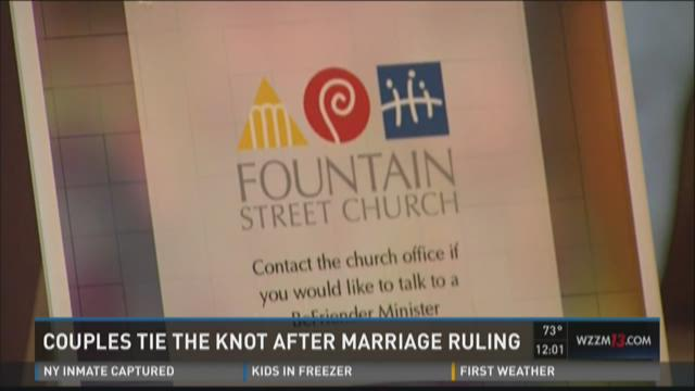 Couples tie the knot after marriage ruling