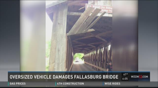 Oversize vehicle damages Fallasburg Bridge