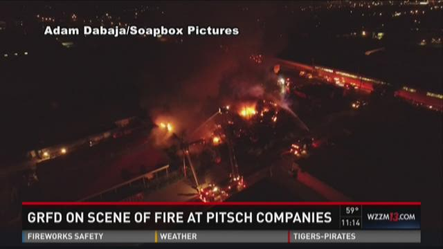 Firefighters respond to massive flames at Pitsch Companies