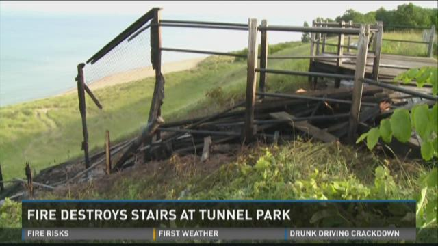 Fire destroys stairs at Tunnel Park