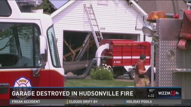 Garage destroyed in Hudsonville fire
