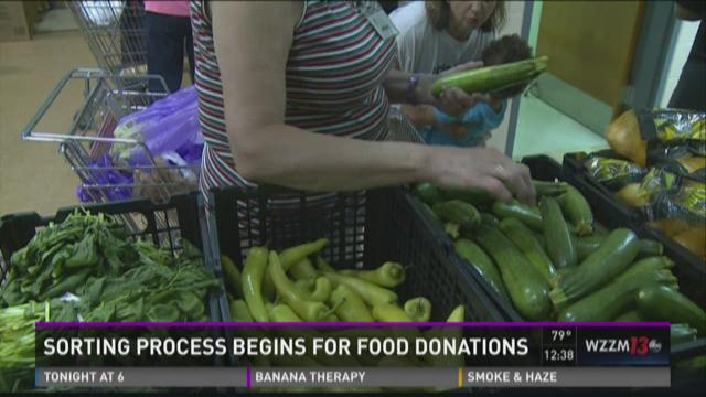 Sorting process begins for food donations