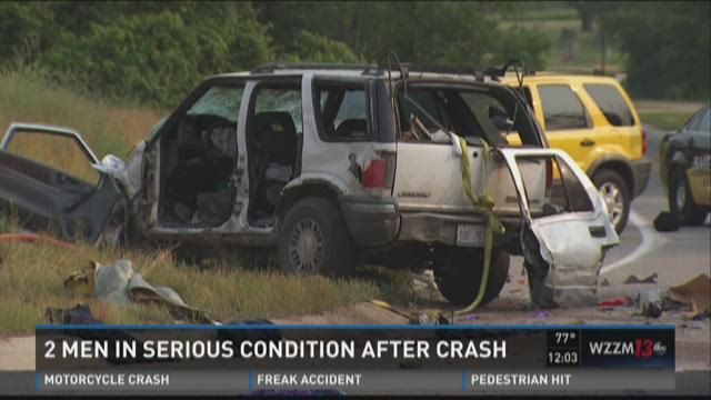 2 men in serious condition after crash