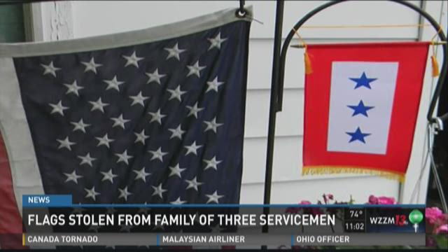 Flags stolen from family of three servicemen