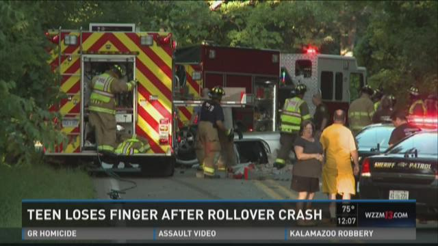 Teen loses finger after rollover crash
