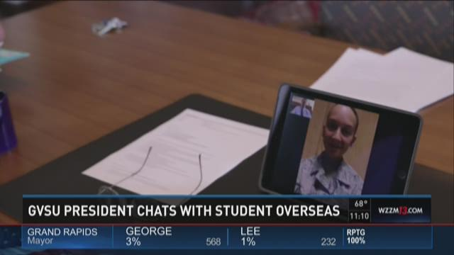 GVSU President FaceTimes with deployed student