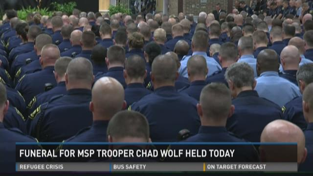 Hundreds attend funeral for Michigan State Police trooper