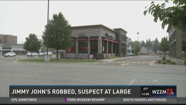 Jimmy John's robbed, suspect at large