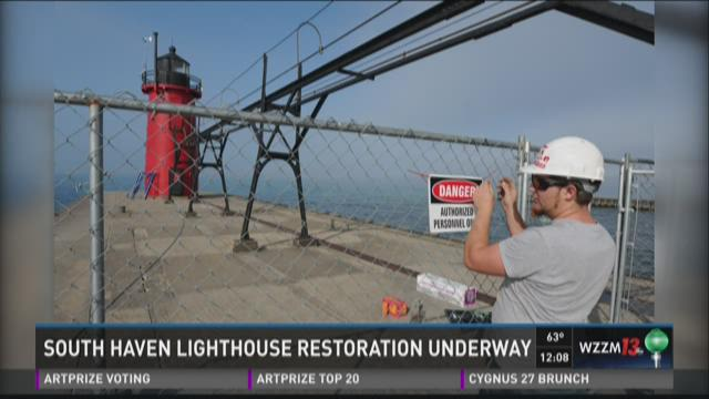 South Haven Lighthouse restoration underway