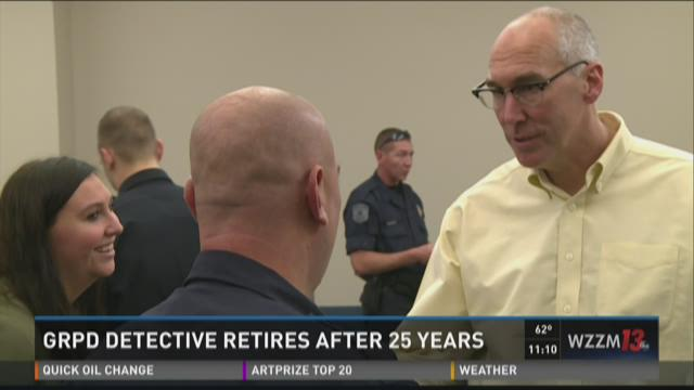 Retiring GRPD detective describes spending last shift with son